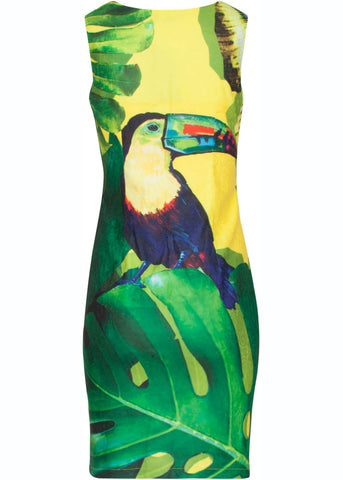 Smashed Lemon Toucan 60's Pencil Jurk Geel Groen