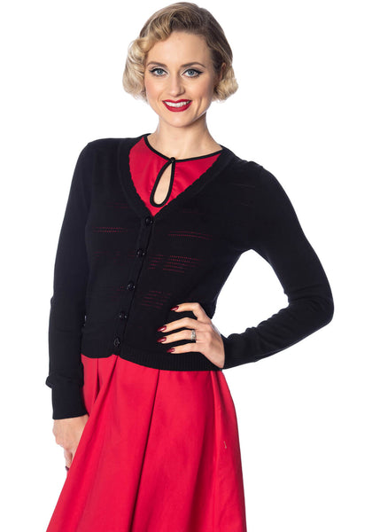 Banned Pointelle 50's Cardigan Zwart