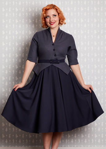 Miss Candyfloss Panna Lee Houndstooth 50's Swing Jurk Navy