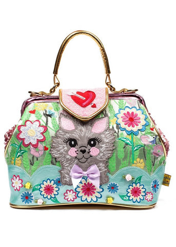 Irregular Choice Here Kitty Kitty Tas Groen Roze