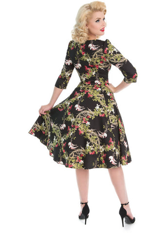 Hearts & Roses Into The Woods 50's Swing Jurk Zwart