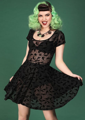 Collectif Lila Magic Mesh 80's Skater Jurk Zwart