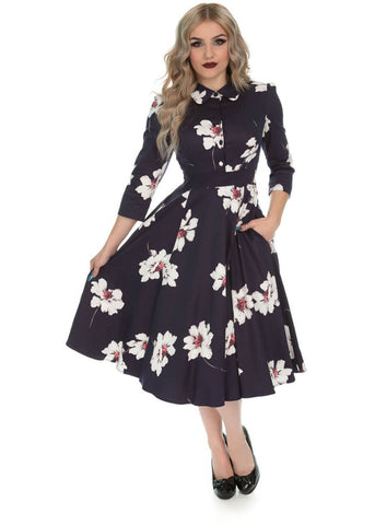 Hearts & Roses Grace Floral 50's Swing Jurk Paars