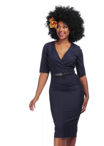 Collectif Ella 50's Pencil Jurk Navy