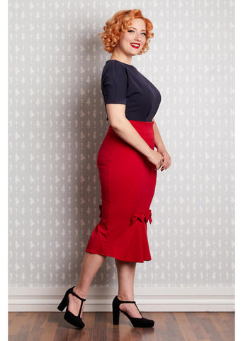 Miss Candyfloss Fairytale 50's Pencil Rok Rood