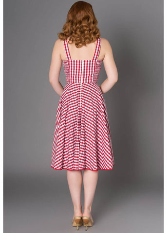 Sheen Angie Gingham 50's Swing Jurk Rood