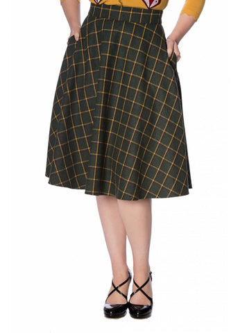 Banned Ladies Day Tartan 40's Swing Rok Groen