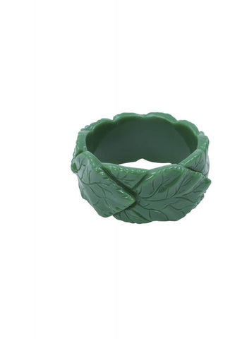 Collectif Carrie Carved Leaves Bangle Groen