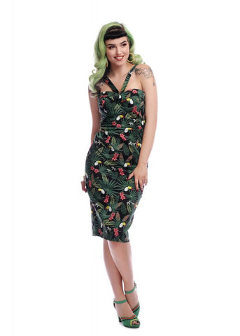 Collectif Kiana Tropicalia 50's Pencil Jurk Multi