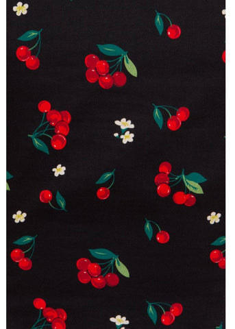Collectif Dolores Cherries & Blossom 50's Top Zwart