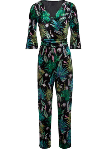 Smashed Lemon Velvet Nature 70's Jumpsuit Zwart Groen
