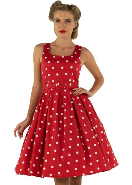 Dolly & Dotty Amanda Polkadot 50's Swing Jurk Rood Wit