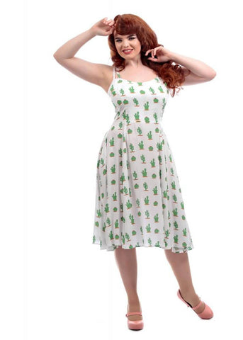 Collectif Janie Cactus 50's Swing Jurk Wit