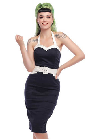 Collectif Georgie Nautical 50's Pencil Jurk Navy