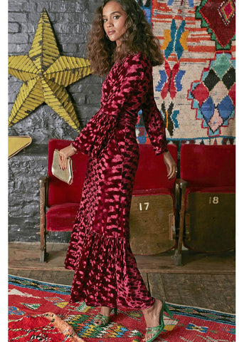 Onjenu Yana Abstract Velvet Maxi 70's Jurk Bordeaux