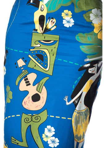 Banned Tiki 50's Pencil Rok Blauw