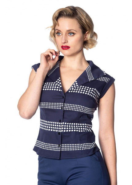 Banned Sail Away 60's Blouse Navy