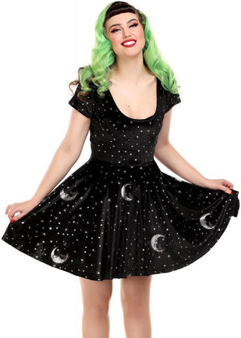 Collectif Lila Midnight Moon Velvet 60's Skater Jurk Zwart