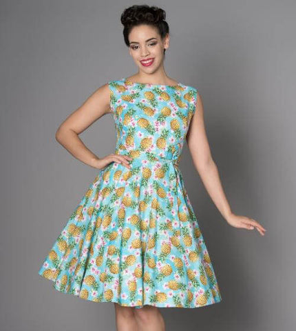 Victory Parade Rosa Pineapple 50's Swing Jurk