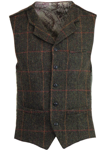 Gibson London Justin Check Gilet Groen