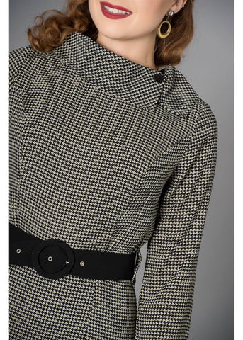 Sheen Lucinda Houndstooth 60's Pencil Jurk Grijs