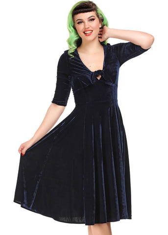 Collectif Moira Velvet 50's Swing Jurk Navy