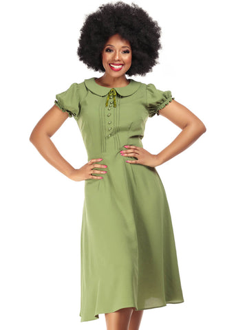 Collectif Giannina 40's Swing Jurk Groen