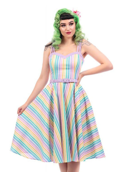 Collectif Nova Rainbow Stripes 50's Swing Jurk Multi