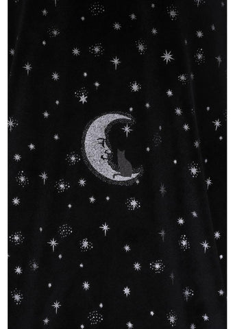 Collectif Mattie Midnight Moon Velvet 50's Swing Rok Zwart