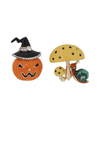 Collectif October Pumpkin Mushroom Broche Set Multi
