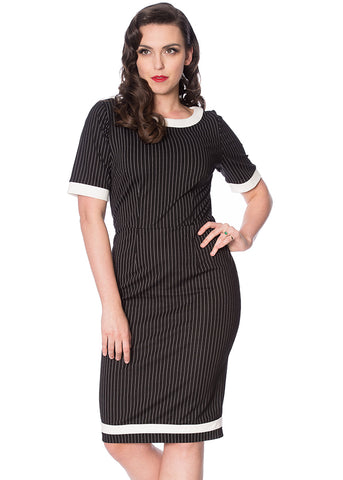 Banned Power Woman Pinstripe 60's Pencil Jurk Zwart