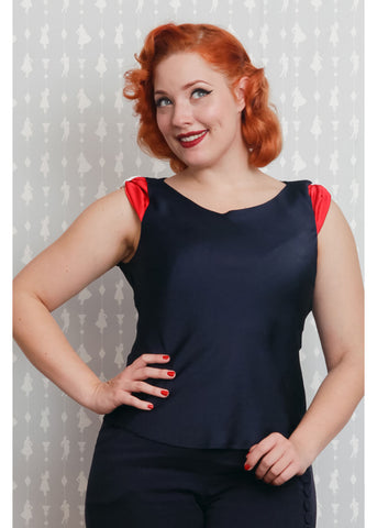 Miss Candyfloss Martina 50s Top Navy Rood Wit
