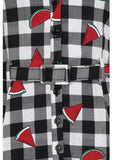 Collectif Caterina Watermelon Gingham 50's Swing Jurk Multi