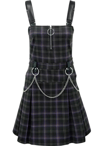 Killstar Regan Tartan Pinafore Jurk Paars