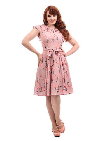 Collectif Tamara Flamingo 40's Jurk Roze