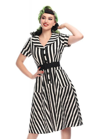 Collectif Brette Striped Swing 50's Jurk Zwart Wit