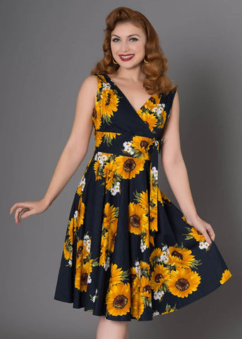Sheen Ella Sunflower 50's Swing Jurk Navy