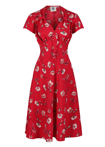 Pretty Retro Tea Dotty Floral 40s Jurk Rood