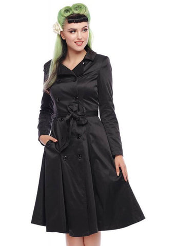 Collectif Korrina 50's Swing Trenchcoat Jas Zwart