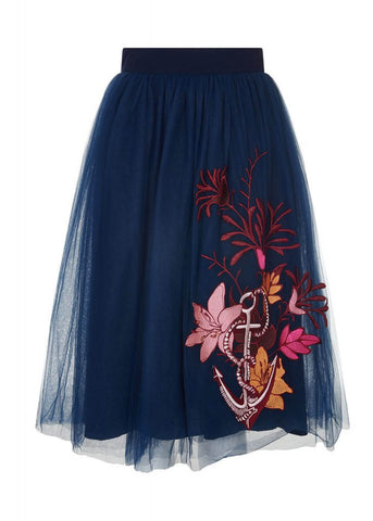 Bright & Beautiful Talis Seaside Embroided Rok Blauw