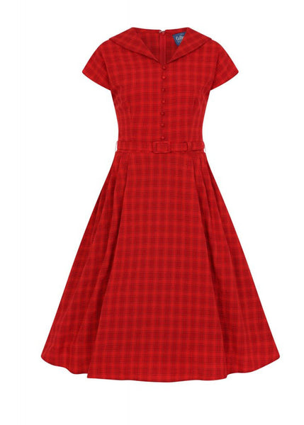 Collectif Dinah Check 40's Swing Jurk Rood