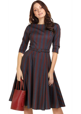 Collectif Suzanne Triplet Stripes 50's Swing Jurk Navy