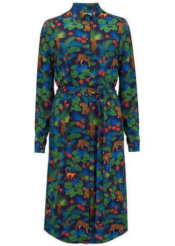 Sugarhill Boutique Reva Jungle 60's Shirt Jurk Navy