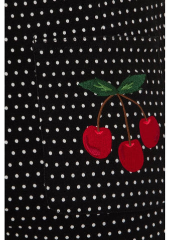 Collectif Madelyn Cherry Polkadot 50's Tuinbroek Zwart