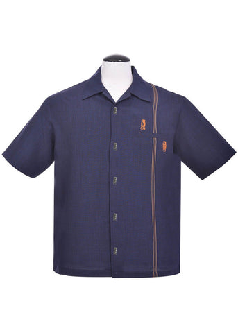 Steady Clothing Heren Tiki Retro Stitch Shirt Navy