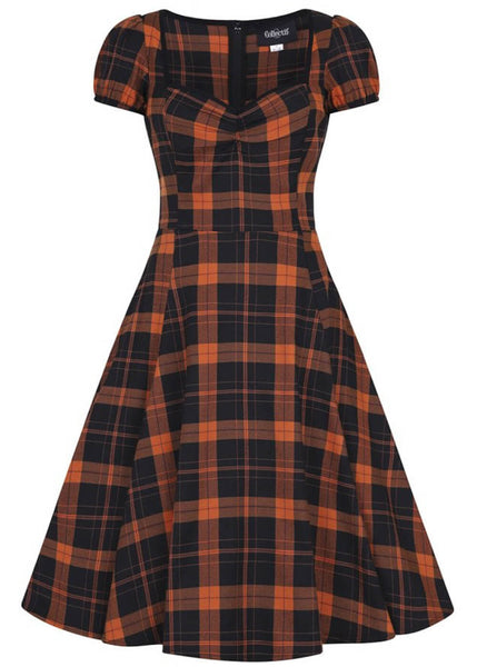 Collectif Mimi Pumpkin Check 50's Swing Jurk Zwart Oranje