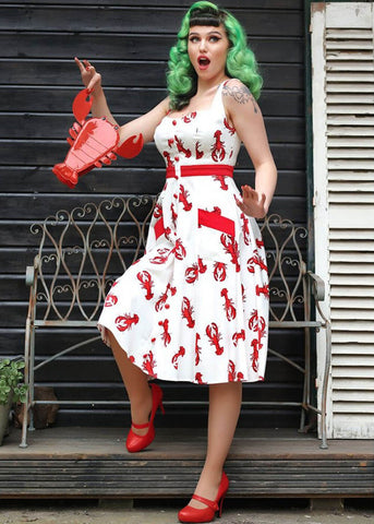 Collectif Sandrine Rock Lobster Swing 50's Jurk Wit