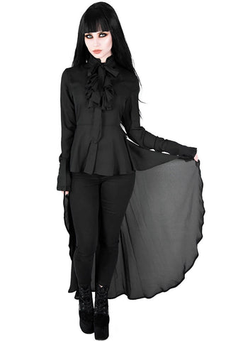 Killstar Sorrows Chiffon Maxi Shirt Zwart