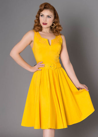 Sheen Samantha 50's Swing Jurk Geel