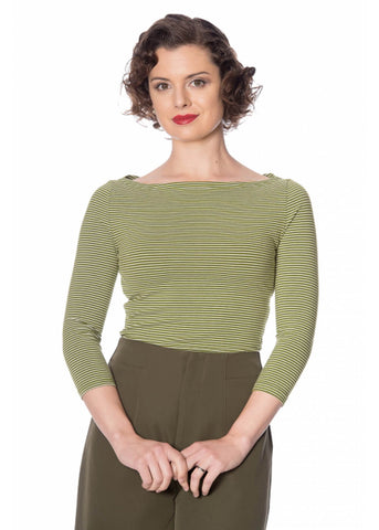 Banned Winter Stripe 60's Top Groen